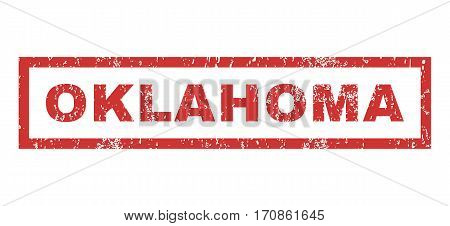 Oklahoma text rubber seal stamp watermark. Tag inside rectangular shape with grunge design and dirty texture. Horizontal vector red ink emblem on a white background.