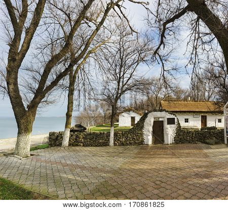 TAMAN KRASNODAR RUSSIA - January 04.2017: the House-Museum of Russian poet Mikhail Lermontov in the Park on the shore of the sea of Azov