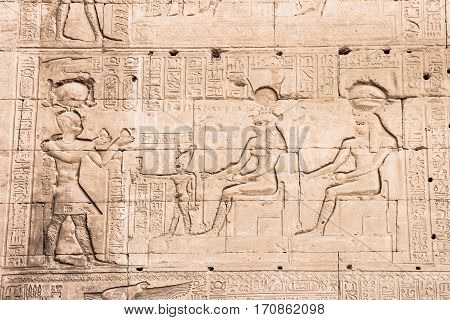 Wall of the temple of Hathor at Dendera