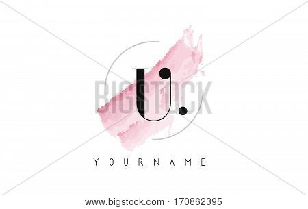 U Letter Logo with Watercolor Pastel Aquarella Brush Stroke and Circular Rounded Design.