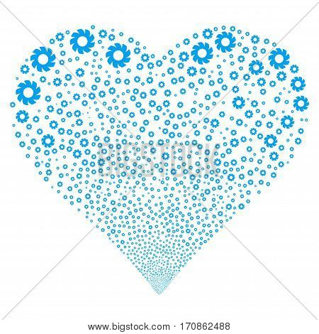Turbine fireworks with heart shape. Vector illustration style is flat blue iconic symbols on a white background. Object stream organized from scattered pictograms.