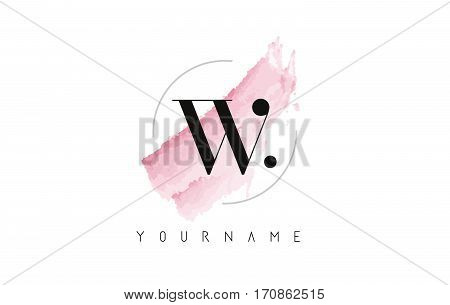 W Letter Logo with Watercolor Pastel Aquarella Brush Stroke and Circular Rounded Design.