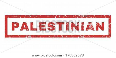 Palestinian text rubber seal stamp watermark. Tag inside rectangular shape with grunge design and dust texture. Horizontal vector red ink emblem on a white background.
