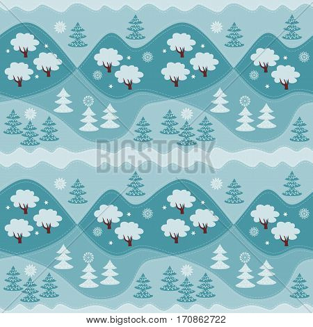 Winter endless pattern. Print for fabric.  Vector illustration. Woodland.