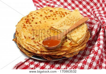 Pancakes with honey for Pancake Day red