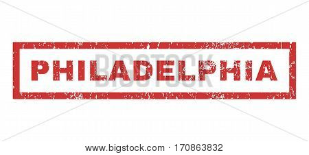 Philadelphia text rubber seal stamp watermark. Tag inside rectangular shape with grunge design and unclean texture. Horizontal vector red ink sign on a white background.