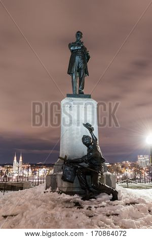 Ottawa, Canada - December 25, 2016: Monument to George Brown politician and one of the Fathers of Confederation by the Parliament of Canada in Ottawa.