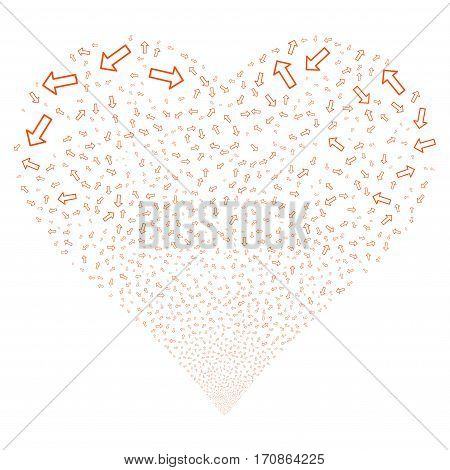 Arrow fireworks with heart shape. Vector illustration style is flat orange iconic symbols on a white background. Object valentine heart combined from scattered icons.