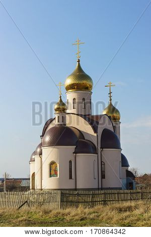 New Orthodox Church of Peter and Paul in the village of Sennoy Temryuk district Krasnodar Krai.