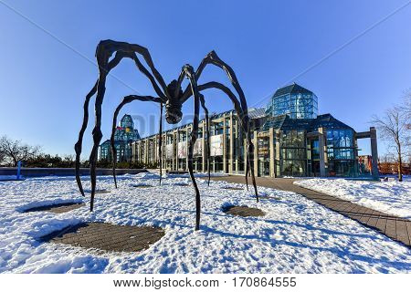 Ottawa, Canada - December 25, 2016: Spider sculpture in front the National Gallery of Canada located in the capital city Ottawa Ontario is one of Canada's premier art galleries.