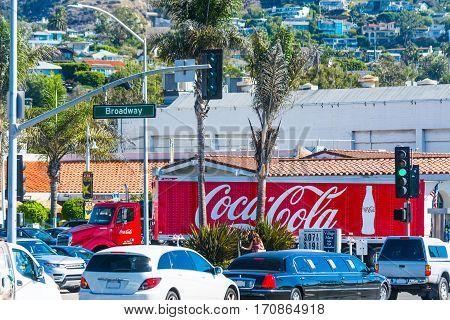 Laguna Beach California - November 03 2016: Coca Cola truck in Laguna Beach Broadway