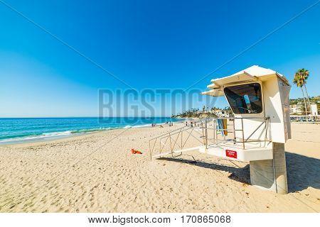 a lifeguard tower in Laguna Beach California