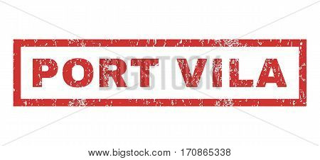 Port Vila text rubber seal stamp watermark. Tag inside rectangular banner with grunge design and dirty texture. Horizontal vector red ink sign on a white background.