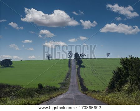 Rural Scene cloud non-urban farm landscape road centered
