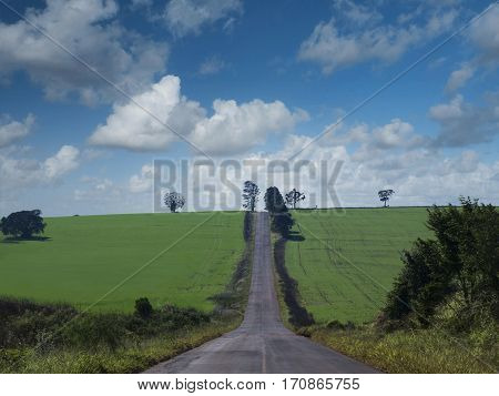 Rural Scene sky clouds non-urban farm agriculture landscape horizon road centered