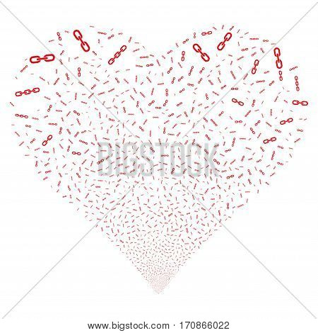 Chains fireworks with heart shape. Vector illustration style is flat red iconic symbols on a white background. Object salute constructed from random pictographs.