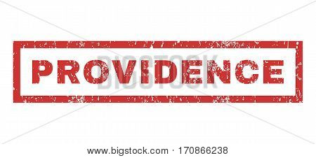Providence text rubber seal stamp watermark. Tag inside rectangular shape with grunge design and dirty texture. Horizontal vector red ink sign on a white background.