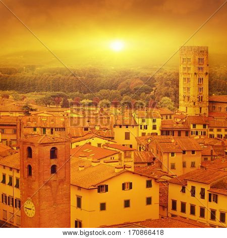 Image of Lucca at sunset, old town in Tuscany.