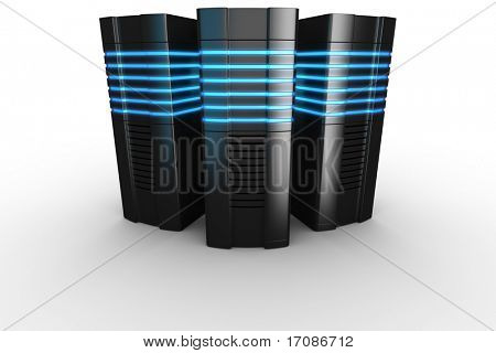 poster of 3d rendering of futuristic servers on a white background