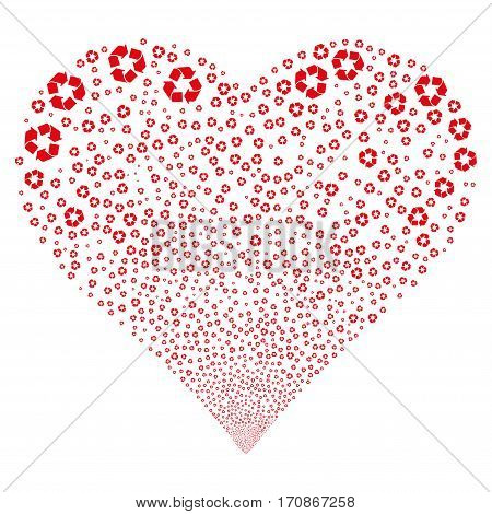 Recycle Arrows fireworks with heart shape. Vector illustration style is flat red iconic symbols on a white background. Object stream created from scattered icons.