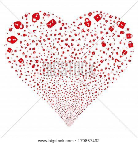 Secrecy Symbols fireworks with heart shape. Vector illustration style is flat red iconic symbols on a white background. Object love heart constructed from scattered pictographs.