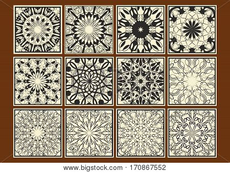 Set of vintage tile collection geometric patterned tiles black calligraphic drawing on beige background separate design elements in retro victorian style vector EPS10