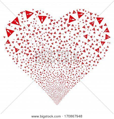 Warning fireworks with heart shape. Vector illustration style is flat red iconic symbols on a white background. Object valentine heart constructed from scattered pictographs.