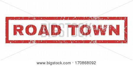 Road Town text rubber seal stamp watermark. Tag inside rectangular banner with grunge design and dirty texture. Horizontal vector red ink sticker on a white background.