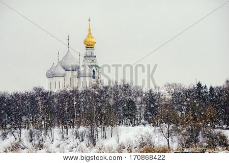 The bell tower and Saint Sophia Cathedral with snow in Vologda