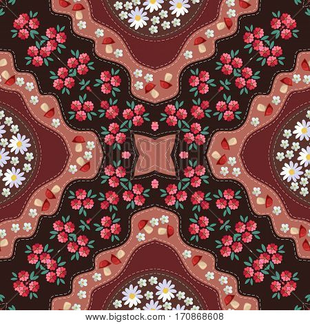 Russian seamless pattern with poppy mushrooms daisy and yarrow. Kerchief square design.