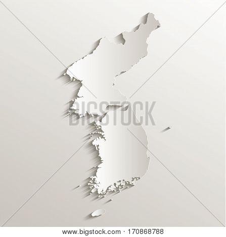 Korea map south north separate card paper 3D natural raster