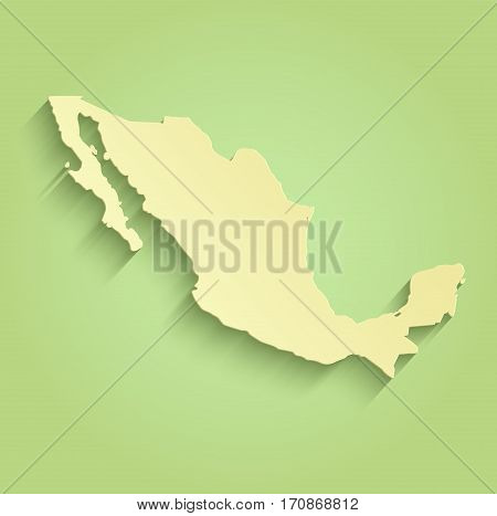 Mexico map green yellow raster template american