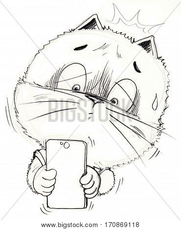 Cat uptight and sad with his friend he reading look at in mobile phone social network chat Cartoon charactor pencil sketch design cute manga style black and white.