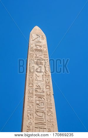 Obelisk in the ruins of Karnak temple in Luxor, Egypt