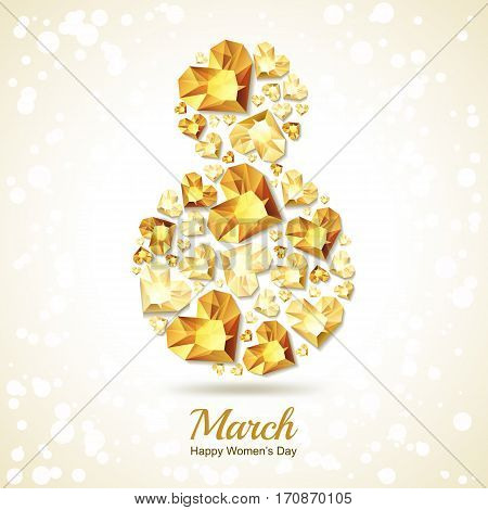 8 March Vector Greeting Card, International Women's Day. Number Eight With 3D Gold Heart Diamonds, G