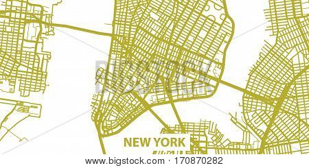 Detailed vector map of NYC, New York in gold,with title, scale 1:30 000, USA