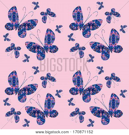 Seamless pattern with beautiful ornamental butterflies in blue and pink tones.