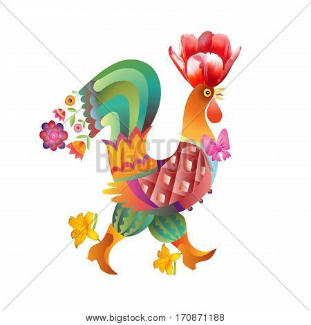 Fairy rooster with tulip flower isolated on white - chinese symbol of 2017 year.