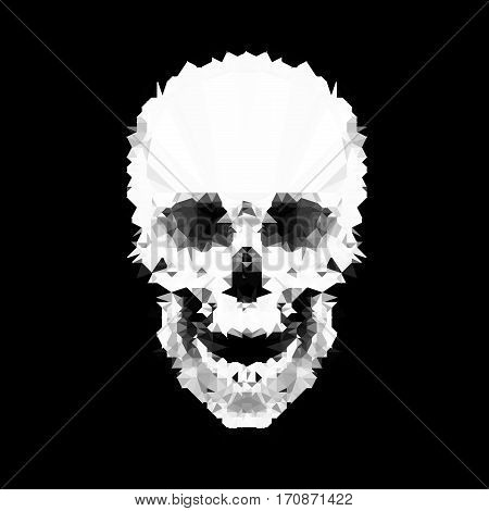 Polygonal geometrical triangles skull silhouette on black background