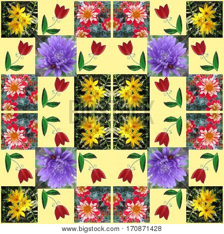 Summer bandana print with beautiful flowers. Kerchief seamless pattern design style for print on fabric.