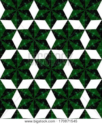 Seamless bright patchwork pattern with flowers in green tones.