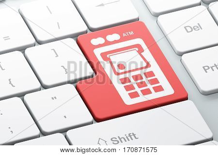 Money concept: Enter button with ATM Machine on computer keyboard background, 3D rendering