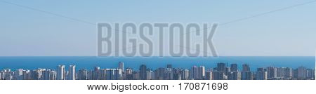 city scape and sea scenery from long distance. ( panorama ). city skyline