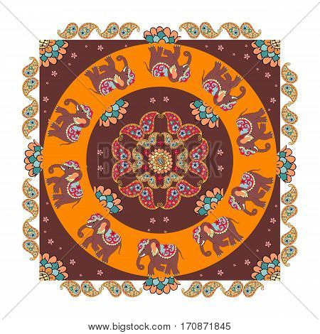 India. Ethnic bandana print with beautiful flowers paisley and elephants. Summer kerchief square pattern design style for print on fabric. Mandala.