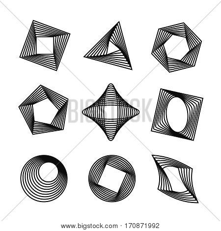 Vector icons set with simple geometric shapes transformations. Spirograph style decorative design elements isolated on white background