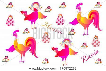Russian pattern with magic bird Sirin flowers rooster and matryoshka.