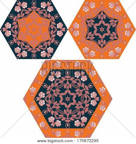 Collection of hexagonal templates with flowers for umbrella or ceramic tile.