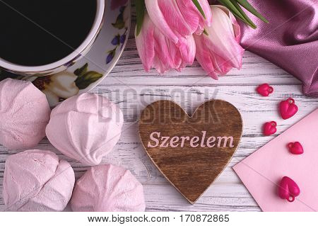 Valentine's Day Elegant Still Life With Tulip Flowers Cup Of Coffe Marshmallows Zephyr Red Heart Sha