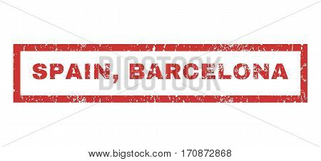 Spain Barcelona text rubber seal stamp watermark. Caption inside rectangular banner with grunge design and dust texture. Horizontal vector red ink emblem on a white background.