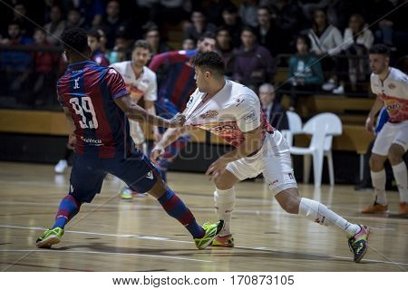 VALENCIA, SPAIN - FEBRUARY 7: (L) Je, (R) Matteus during Spanish King Cup match between Levante UD FS and Elpozo Murcia at Cabanyal Stadium on February 8, 2017 in Valencia, Spain